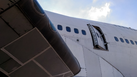 door aircraft opened and sky background