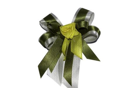 ribbin: isolated green and white ribbin Stock Photo