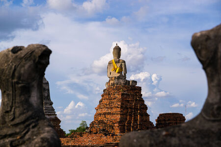 Burned and Decapitated Buddha Statue  Wat Chai Wattanaram buddhist temple, situated in the old capital of Thailand, Ayutthaya  Built in 1630 in the Khmer style, it was burned by the Burmese in 1767 when they destroyed the Thai capital  A UNESCO World Heri