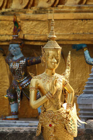 Kinnara   a combination of a bird and a man or a woman, Grand palace sculpture, Bangkok, Thailand