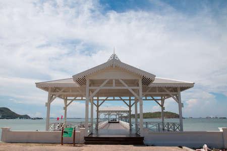 pavillion: white pavillion beside the sea Stock Photo