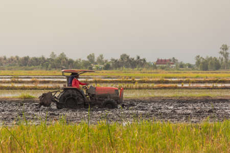 heavy tractor during cultivation agriculture works