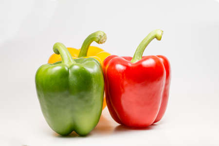 bell peppers: Fresh bell peppers or capsicum isolated on white background