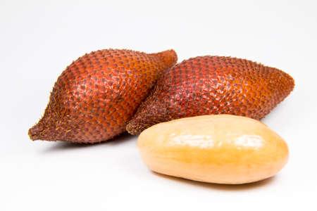 Salacca or zalacca tropical fruit on white background photo
