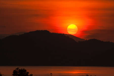 Sunset on the lake, Kanchanaburi, Thailand photo