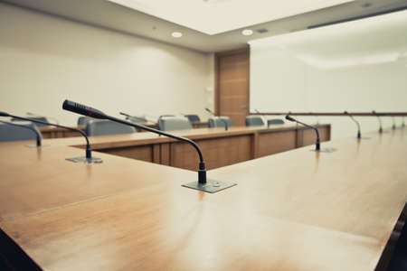 Boardroom With a meeting microphone Stock Photo