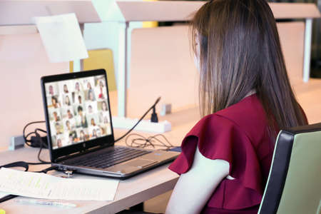 Female teacher are using laptop for online teaching students with conference program concepts of video call or online meetings and eLearning.