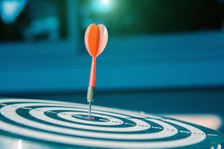 Bulls eye or dart board has red dart arrow throw hitting the center of a shooting target for business targeting and winning goals business concepts. Standard-Bild - 156126019