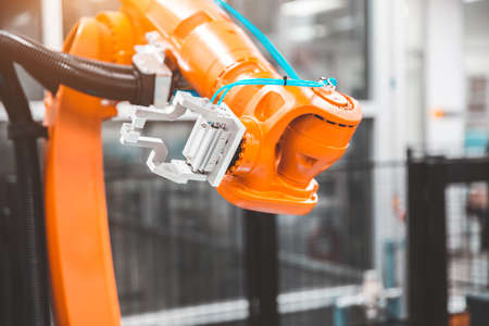 Robot arm cnc automation handling system for industrial manufacturing and factory production.