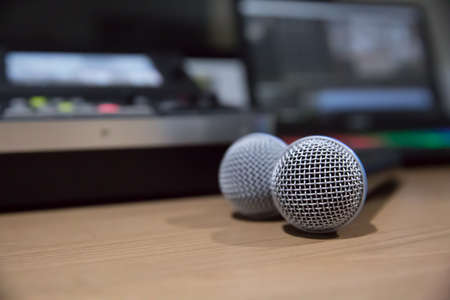 Professional microphone  on the table.