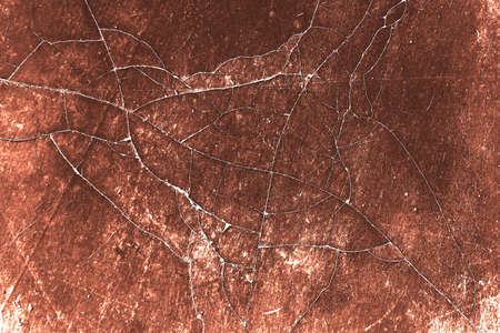Red rust and corrosion stains and cracks on steel plates or stains on concrete cement outdoor walls for textured and retro vintage background.