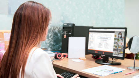 Business women using computer laptop to online meeting or video call with the people by conference program. Concept of business technology internet or e-Learning and teacher teaches students.