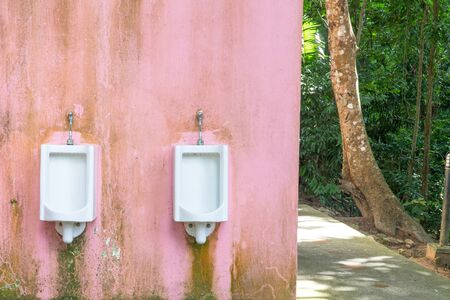 Close up row of outdoor urinals men public toilet at park, , Pink wall background, nature background Foto de archivo