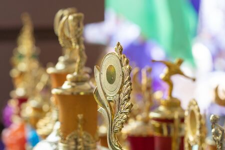 group of trophies on the table Stockfoto