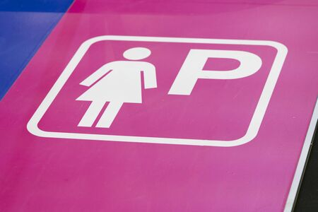 Signs symbols parking for women, Parking place only for women inside the public garage, parking cars for women only