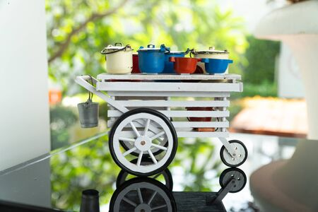 Miniature Antique Street Thai Food in Set and wooden vintage cart