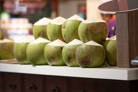 green Coconuts are ready to sell- coconuts in the Smoothie coconut juice shop