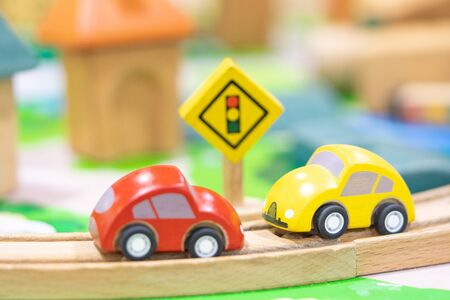 two car model-Traffic road sigh toy, Play set Educational toys for preschool indoor playground (selective focus)