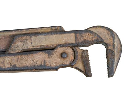 vintage rusty pipe wrench isolated on white background, top view