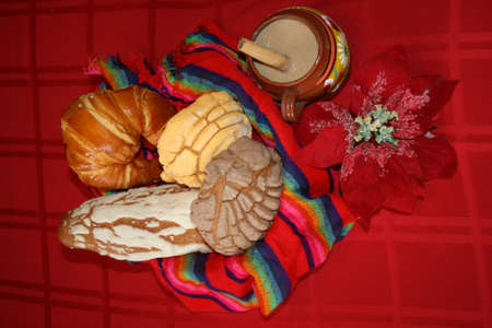 Champurrado with Pan dulce in Mexican Bakery