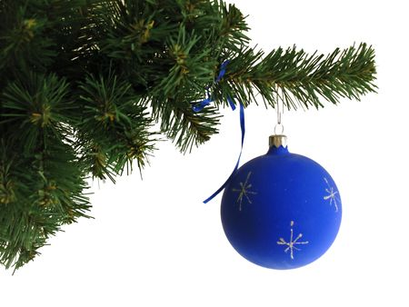 Blue ball on Christmas tree photo
