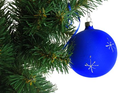 Blue ball on Christmas tree photo