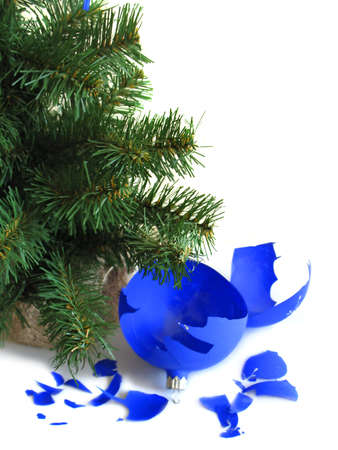 Pieces of broken blue ball with Christmas tree Stock Photo - 2063965