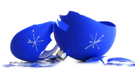 Pieces of broken blue Christmas ball Stock Photo - 2063948
