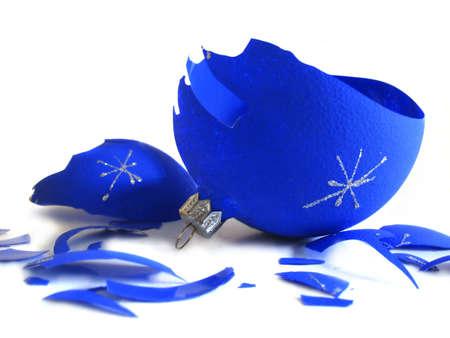 Pieces of broken blue Christmas ball  photo