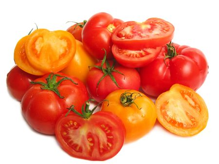 Tomatoes on white background, close up photo