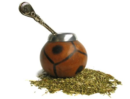 mate drink: Yerba mate cup and straw, traditional drink of Argentina Stock Photo