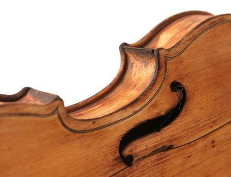 Close-up of the body of antique violin photo