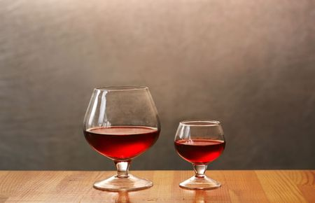Two wineglasses on silver background Stock Photo - 2707185