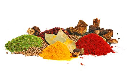 exoticism: Piles of spices: parsley, red paprika, whole black pepper, white coriander, curcuma, laurel leaves and dry porcini mushrooms.