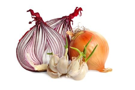 Bulbs of garlic and red onion on white background photo
