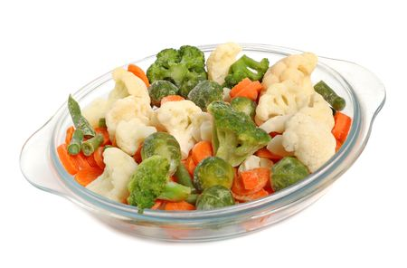 Different frozen vegetables on a glass plate, healthy breakfast. Stock Photo - 2957160