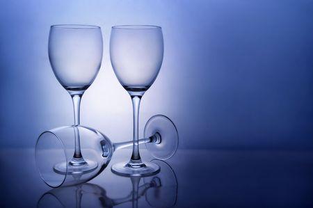 Three empty wine glasses photo