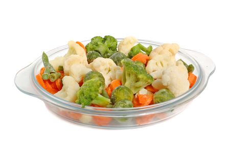 Different vegetables on a glass plate, healthy breakfast. photo