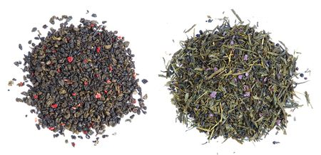 Two kinds of aromatic green tea leaves - with red flower petal and with lavender petal and small bits of dry olive. Stock Photo - 3066377