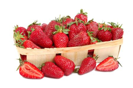 Ripe red strawberries in a basket Stock Photo - 3066371
