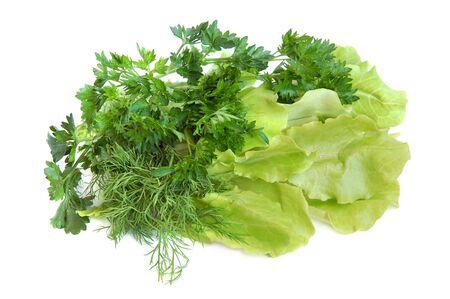 Fresh tasty greens isolated on white background photo