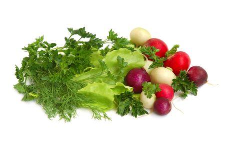 Fresh tasty greens and color radish isolated on white background photo