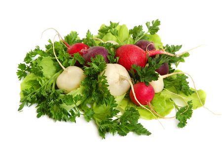 Fresh tasty greens and color radish isolated on white background photo