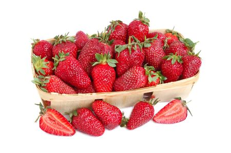 Ripe red strawberries in a basket Stock Photo - 3114154