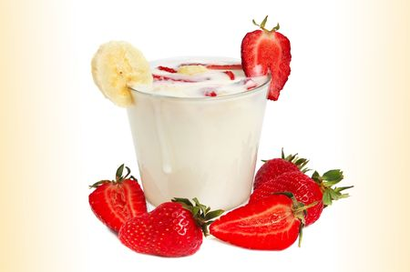 Delicious milk drink with strawberries and banana photo
