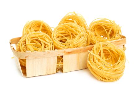 Italian pasta tagliatelle in basket isolated on white Stock Photo - 3114142
