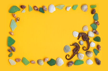 Frame from sea shells and glass stones on yellow background photo