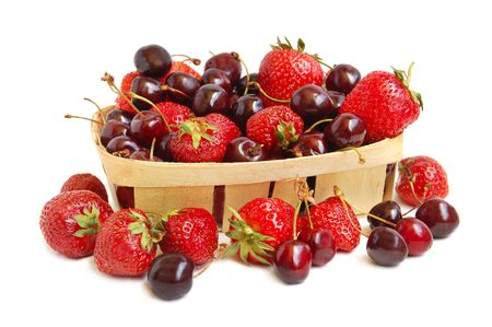Ripe red strawberries and cherries in a basket Stock Photo - 3237843