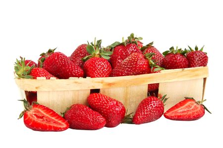 Ripe red strawberries in a basket photo