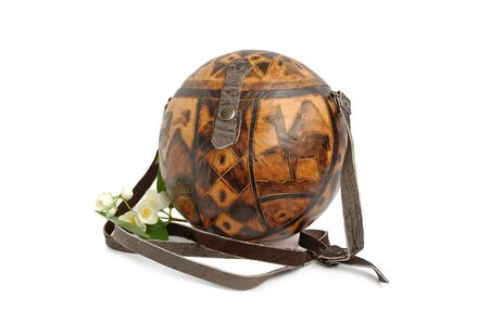 Women bag in national Peru style. Material is a brown dry calabash. photo